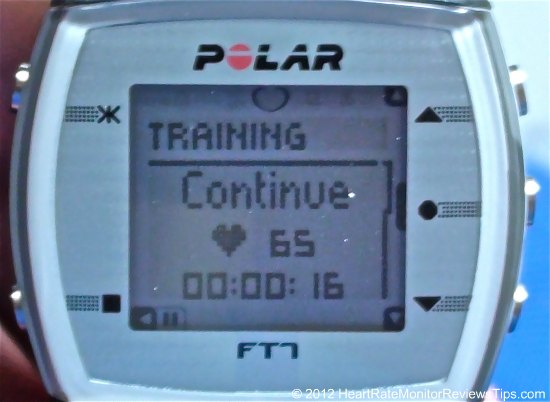 Polar FT7 HRM Pause Screen